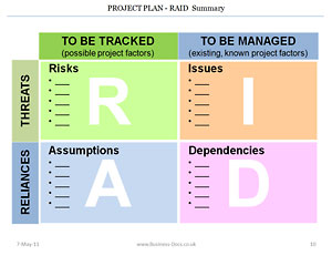 The Project Plan RAID summary clearly shows Risks, Issues, Opportunities, Threats