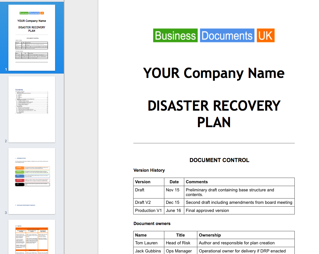 Disaster recovery plan template essential cover wajeb Choice Image